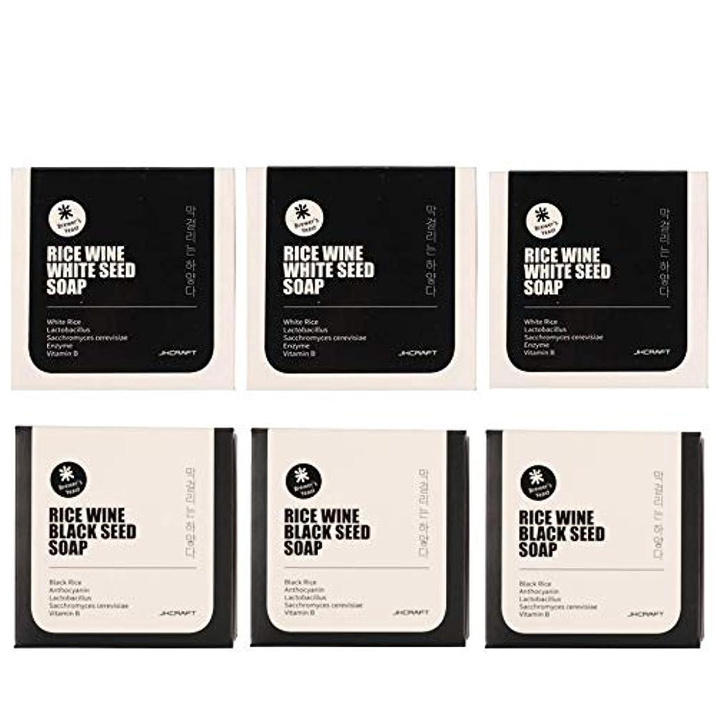 フレッシュ装置ブレンドJKCRAFT RICEWINE WHITE&BLACK SEED SOAP マッコリ酵母石鹸 & 黒米マッコリ酵母石鹸無添加,無刺激,天然洗顔石鹸 6pcs [並行輸入品]