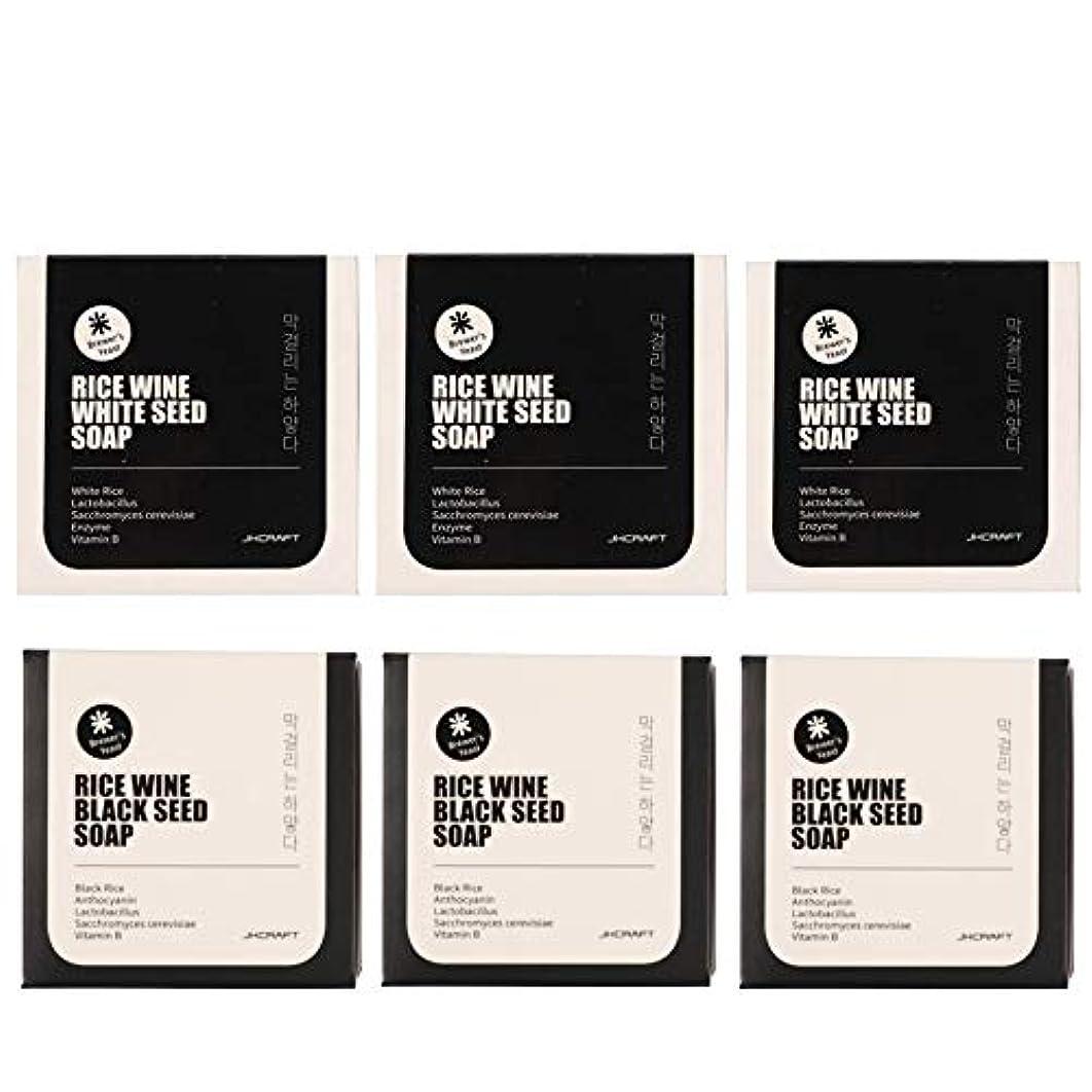 絶対に湿気の多い遺棄されたJKCRAFT RICEWINE WHITE&BLACK SEED SOAP マッコリ酵母石鹸 & 黒米マッコリ酵母石鹸無添加,無刺激,天然洗顔石鹸 6pcs [並行輸入品]