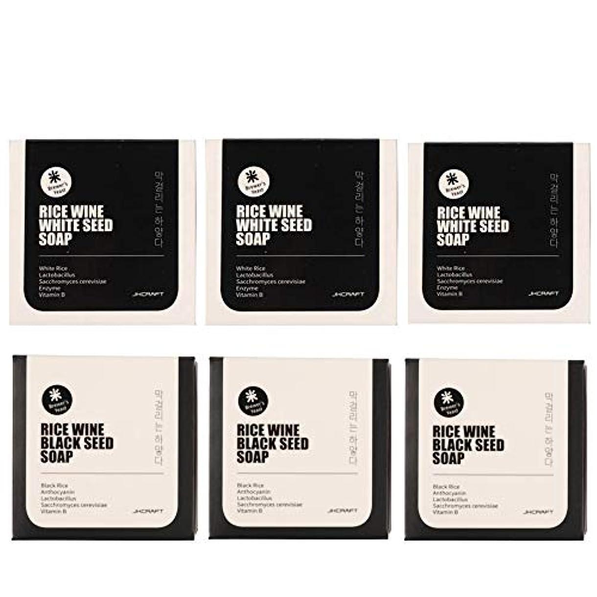 後方に雄弁大統領JKCRAFT RICEWINE WHITE&BLACK SEED SOAP マッコリ酵母石鹸 & 黒米マッコリ酵母石鹸無添加,無刺激,天然洗顔石鹸 6pcs [並行輸入品]