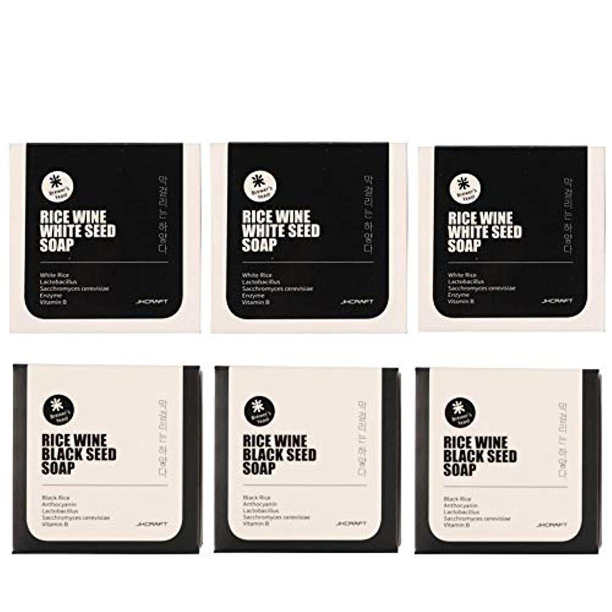 れんがラバヘルパーJKCRAFT RICEWINE WHITE&BLACK SEED SOAP マッコリ酵母石鹸 & 黒米マッコリ酵母石鹸無添加,無刺激,天然洗顔石鹸 6pcs [並行輸入品]