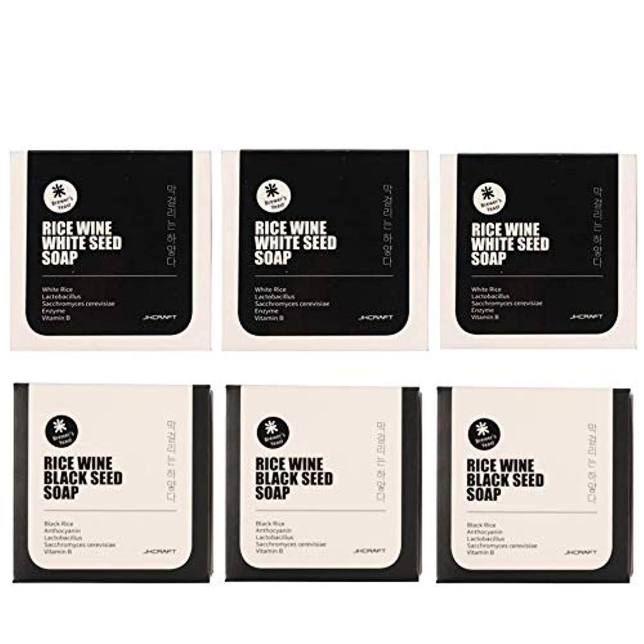 サーフィン急行するおもちゃJKCRAFT RICEWINE WHITE&BLACK SEED SOAP マッコリ酵母石鹸 & 黒米マッコリ酵母石鹸無添加,無刺激,天然洗顔石鹸 6pcs [並行輸入品]