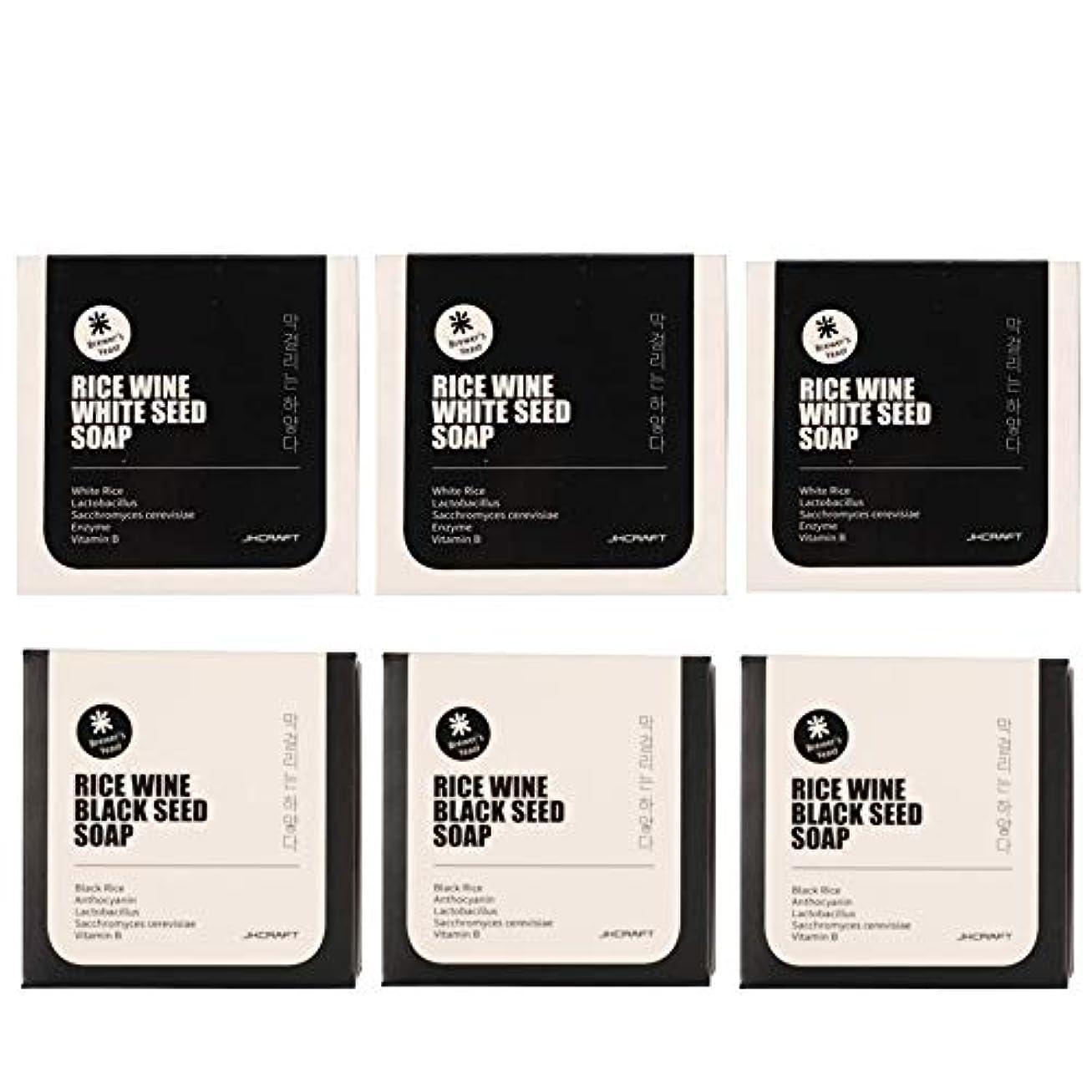 然とした強大なバドミントンJKCRAFT RICEWINE WHITE&BLACK SEED SOAP マッコリ酵母石鹸 & 黒米マッコリ酵母石鹸無添加,無刺激,天然洗顔石鹸 6pcs [並行輸入品]