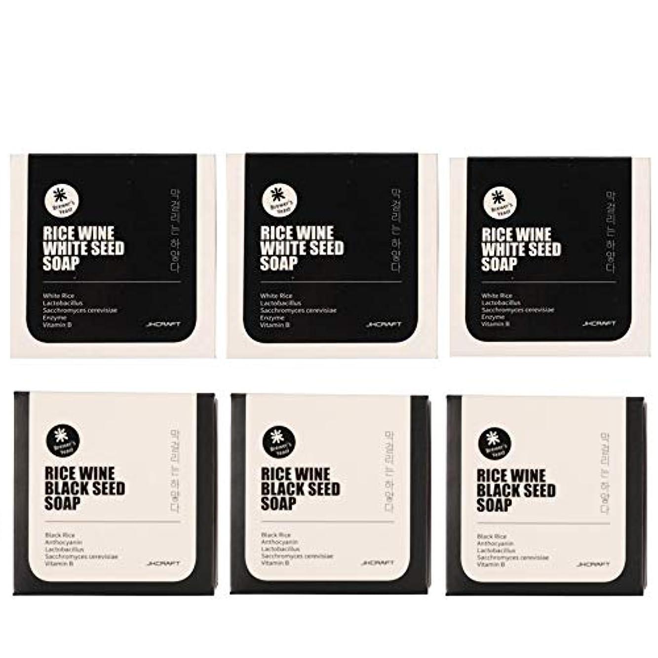 靴下ピンポイントフリッパーJKCRAFT RICEWINE WHITE&BLACK SEED SOAP マッコリ酵母石鹸 & 黒米マッコリ酵母石鹸無添加,無刺激,天然洗顔石鹸 6pcs [並行輸入品]