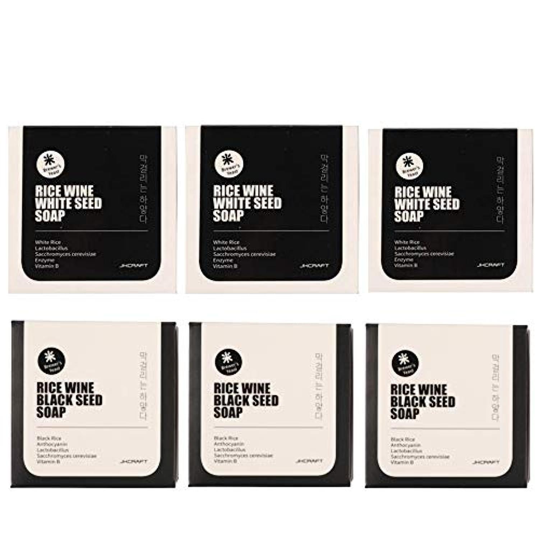 食器棚アクティビティ十年JKCRAFT RICEWINE WHITE&BLACK SEED SOAP マッコリ酵母石鹸 & 黒米マッコリ酵母石鹸無添加,無刺激,天然洗顔石鹸 6pcs [並行輸入品]