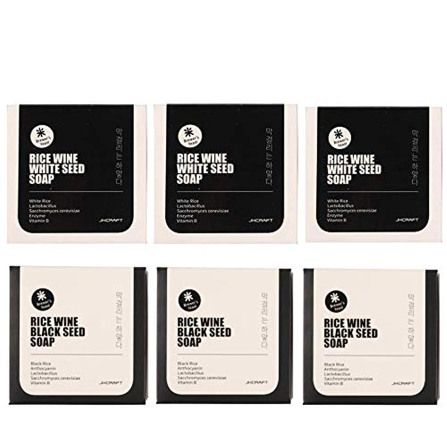 JKCRAFT RICEWINE WHITE&BLACK SEED SOAP マッコリ酵母石鹸 & 黒米マッコリ酵母石鹸無添加,無刺激,天然洗顔石鹸 6pcs [並行輸入品]