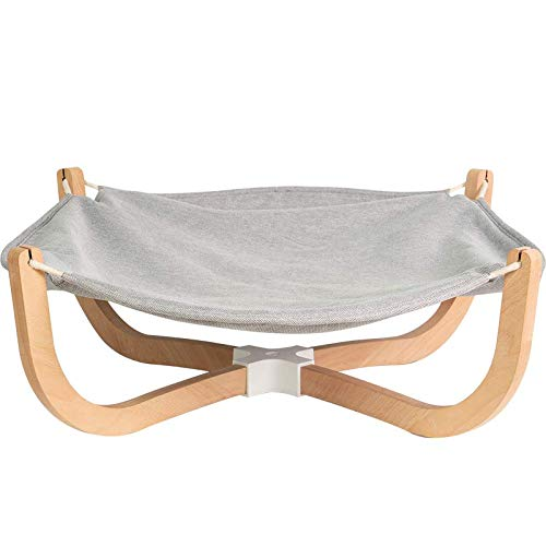 pidan® 猫ベッド 大きい 猫ハンモックペット ペットベッド 犬猫用 キャットハンモック 洗える 欅木製 ホルムアルデヒドなし 綿麻 安定な構造 組立簡単 四季適用