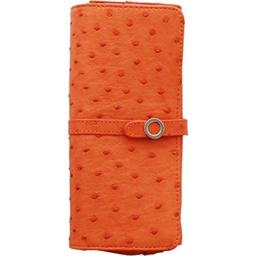 長財布 オーストリッチ レザー レディース カード収納 大容量 オレンジ