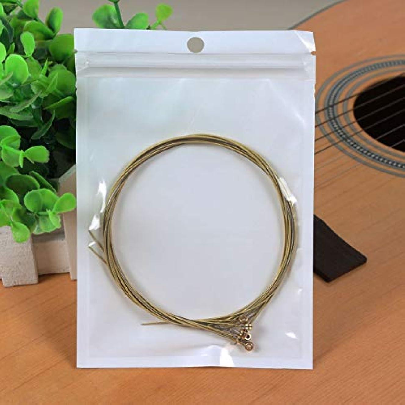 嫌がるゲームクランプ耐久性のあるニッケルメッキスチールギター弦アコースティックフォークギター用のカラフルなギター弦クラシックギター-ホワイト