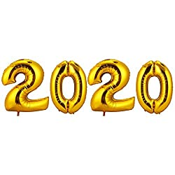 CCINEE 巨大な風船 2020 数字 番号バルーン 文字バルーン アルミ箔 フィルム バルーン マイラーバルーン 誕生日 結婚式 飾り物 パーティーデコレーション 40インチ超巨大 新年挨拶 忘年会 4本セット (ゴールデン)