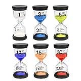 Atpwonz 砂時計タイマー カラフルな砂タイマー インテリアタイマー6個セット(1分/3分/5分10分/15分/30 分)9.7 cm× 4.3 cm