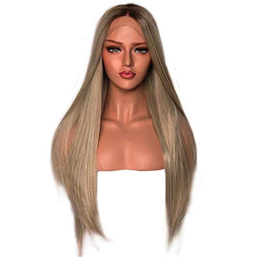 侵略賢明な封建ナチュラルブロンドルーツロングウィッグストレートヘアレースフロントウィッグ女性用サイドパーツ耐熱繊維24インチ