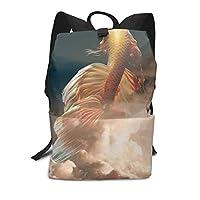 バックパックリュックサックラップトップバッグ 大容量 カジュアルバッグ 太陽雲の金魚 旅行バッグ 通学用