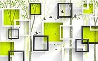 Dtcrzj クリエイティブカラーボックス3D抽象ツリー壁画装飾背景壁紙壁の装飾(157.48Inx110.23In / 400Cmx280Cm)Qi59,3,0,0、*、2,1,0、C、M