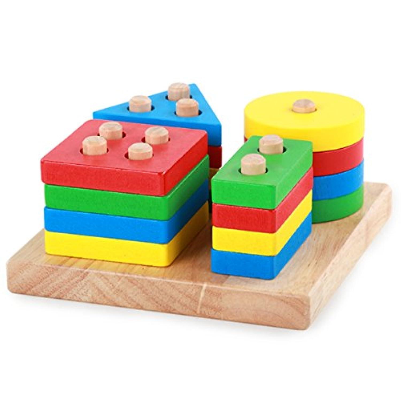 Evinis木製教育Preschool形状色認識幾何ボードブロックスタックソート分厚いパズル玩具、木製列図形Stacking玩具、Montessori Building Blocks