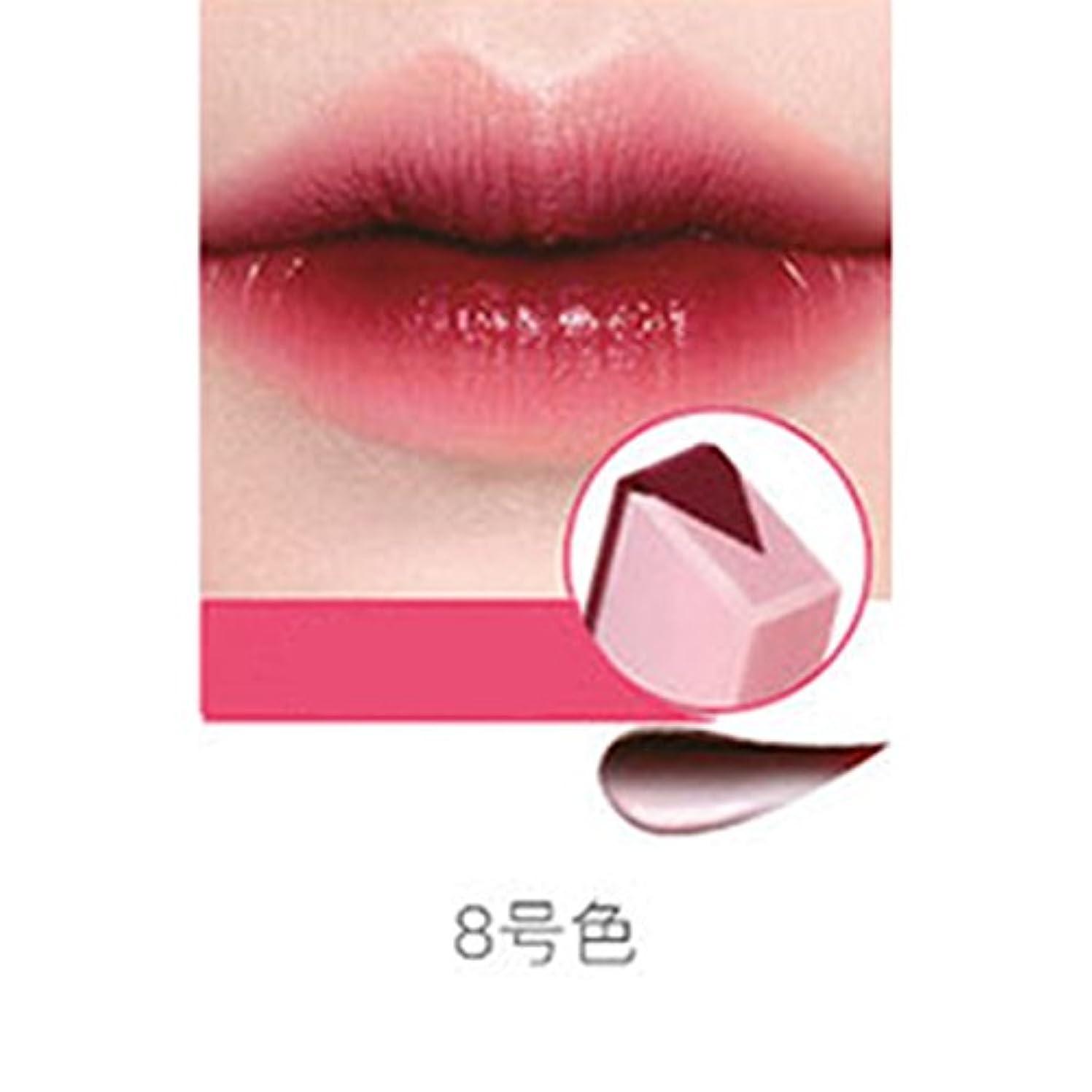 アジテーションすばらしいです週間RaiFu リップスティック ペンシル リップバー 女性 ファッション グラデーションカラー マット メイクアップ フルーツ スモークツートーン ティント 08#チェリーミルク