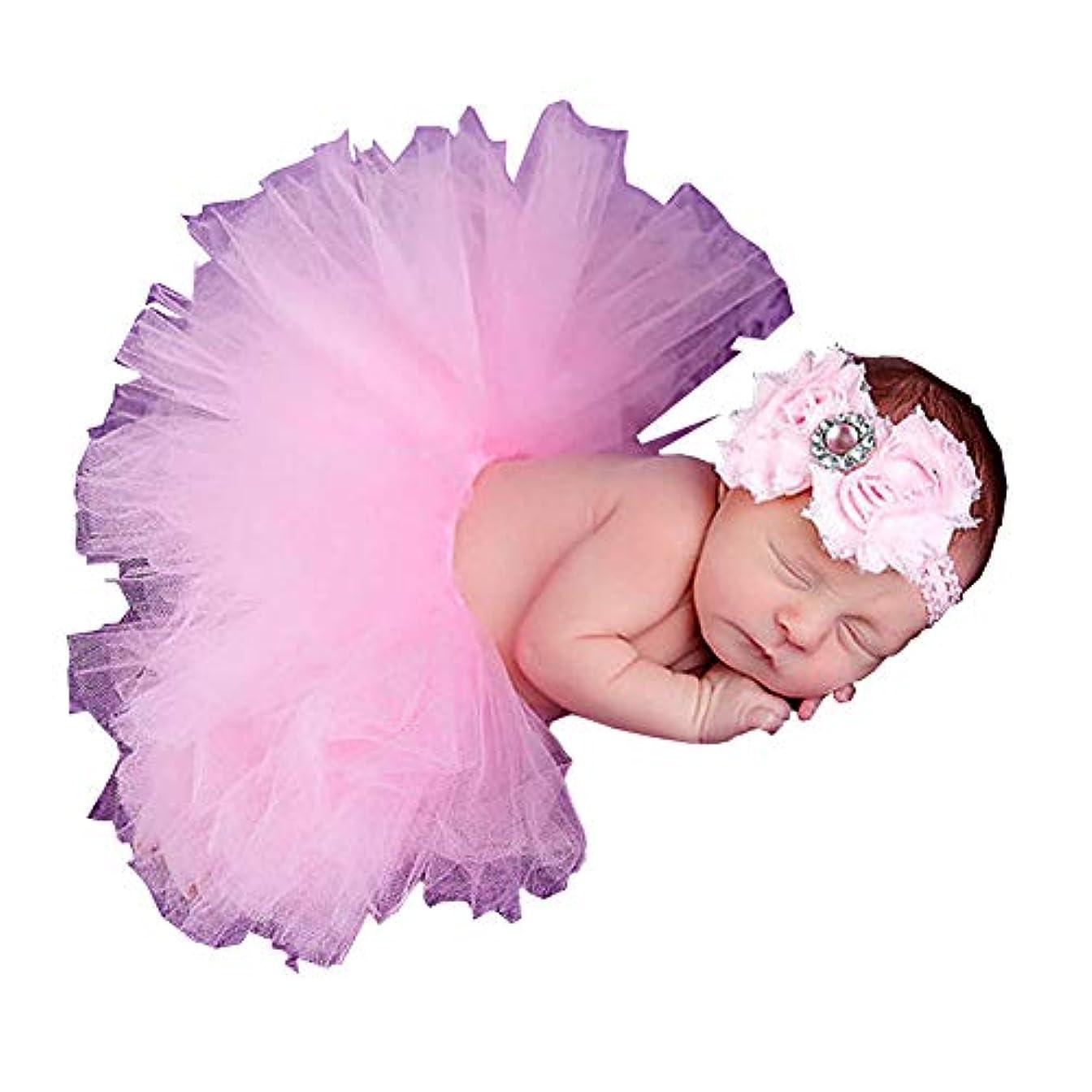 動機械的に将来のベビー用着ぐるみ コスチューム 寝相アート 新生児 赤ちゃん 写真を撮る道具 お嬢様風 ヘアバンド付 (ピンク,0-6Month)