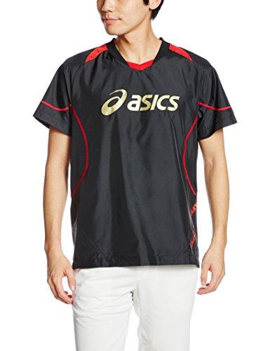 (アシックス)asics バレー半袖ピステ ウオームアップシャツHS XWW620 9024 ブラック/ヴィクトリアレッド S