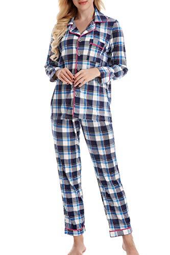 NORATWIPS パジャマ レディース 上下セット ルームウェア 長袖 ロングパンツ 部屋着 前開き寝巻き 大きいサイズ(ブルー チェック柄 L)