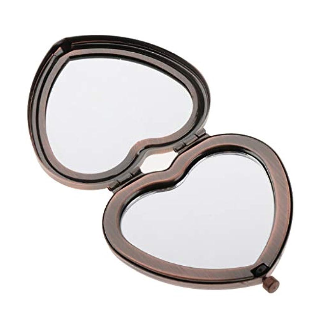 警報見込み思いやりのあるCUTICATE 化粧鏡 メイクアップミラー 化粧ミラー ポケットミラー 両面 コンパクト 2倍拡大鏡 外出/旅行用 全4色 - 赤い銅