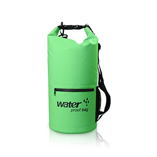 Ewin ドライバッグ 防水バッグ 3way仕様 20L ドラム型 収納バッグ アウトドア 釣り 海水浴 キャンプ スノーボードに適用 (グリーン, 20L)