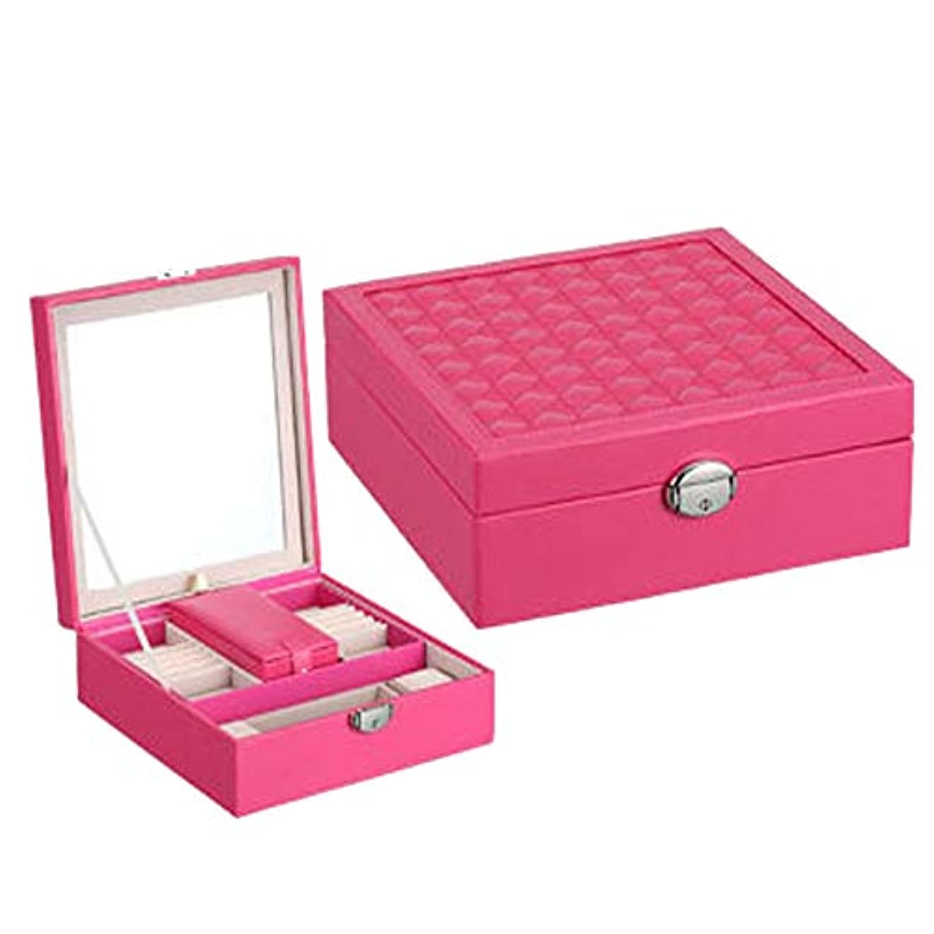 カスタムイタリックコック化粧オーガナイザーバッグ 小さなアイテムのストレージのための丈夫な女性のジュエリーの収納ボックス 化粧品ケース (色 : ローズレッド)