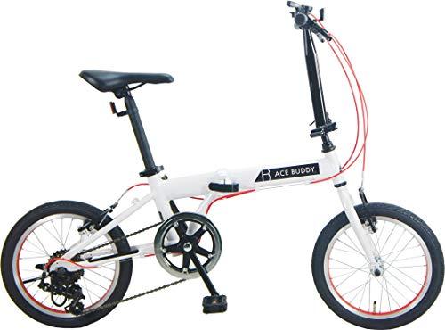 ACE BUDDY 166AL-1 アルミ 折りたたみ自転車 16インチ SHIMANO6段変速 (ホワイト)