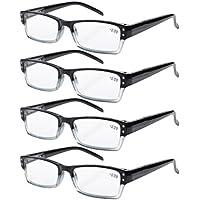 Eyekepper 4-pack Spring Hinges Rectangular Reading Glasses Black +2.00