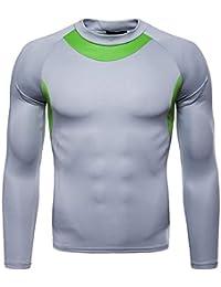 DAISUKIスポーツシャツ 接触冷感 インナー メンズ 長袖 スポーツインナー 吸汗速乾 UVカット Tシャツ ランニング トレーニング アンダーウェア 丸首 クルーネック ジム