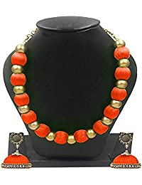 GOELX Silk Thread Choker Orange Color Antique Necklace with Antique Flower Stud & Jhumka Earring Set