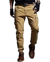 メンズパンツ弾性的な足を閉じるスキニーパンツ戦術的な軍事メンズカーゴパンツマルチポケットのオーバーオール (31, カーキ)