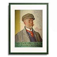 カール・ラーション Carl Larsson 「Self portrait with King Domalde」 額装アート作品