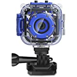 [Upgraded]DROGRACE Kids Waterproof Camera Action Video Digital Camera 1080P HD for Boys Toys Gifts Build-in Game(Blue)