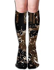 Qrriy女性はダートバイクモーターサイクルレースソフトクリスマス膝ハイスストッキングスリッパソックス、クリスマス楽しいカラフルな靴下を得た