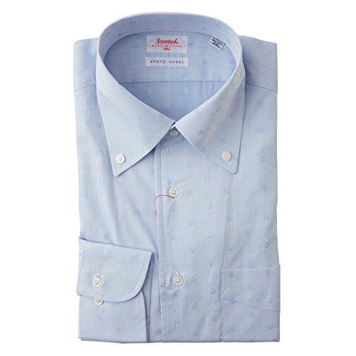 SCHIATTI(スキャッティ)Scented  ボタンダウン ドレスシャツ ブルー マーク入り (L)