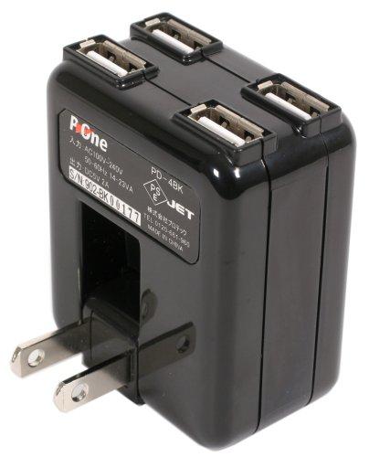 プロテック USB充電器 4ポート PD-4BK