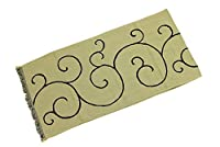 加藤萬謹製 ショール コットン 綿100% おしゃれ レディース羽織 ひざ掛け ストール 4.黄×黒