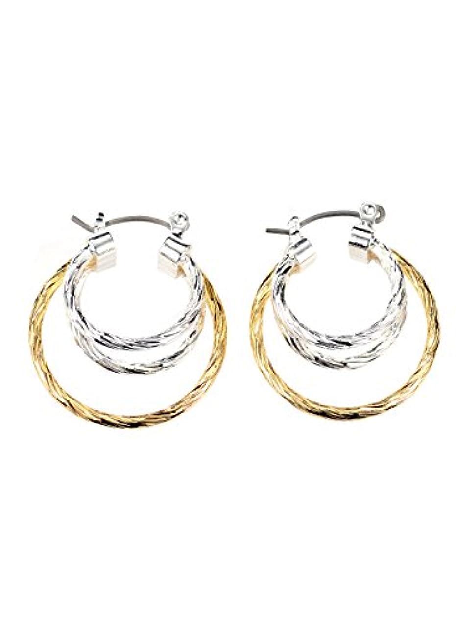 グラディス規制する間欠NEOGLORY Jewelryゴールドシルバーカラー2トーンダイヤモンドカットフープイヤリングクリスマスfor Sensitive耳