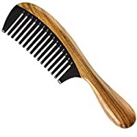 CUHAWUDBA 手作りの100%天然グリーンビャクダンの毛の櫛 - 帯電防止ビャクダンの香りの自然な毛のデタングラーの木製の櫛(バッファローホーンワイドトゥース)