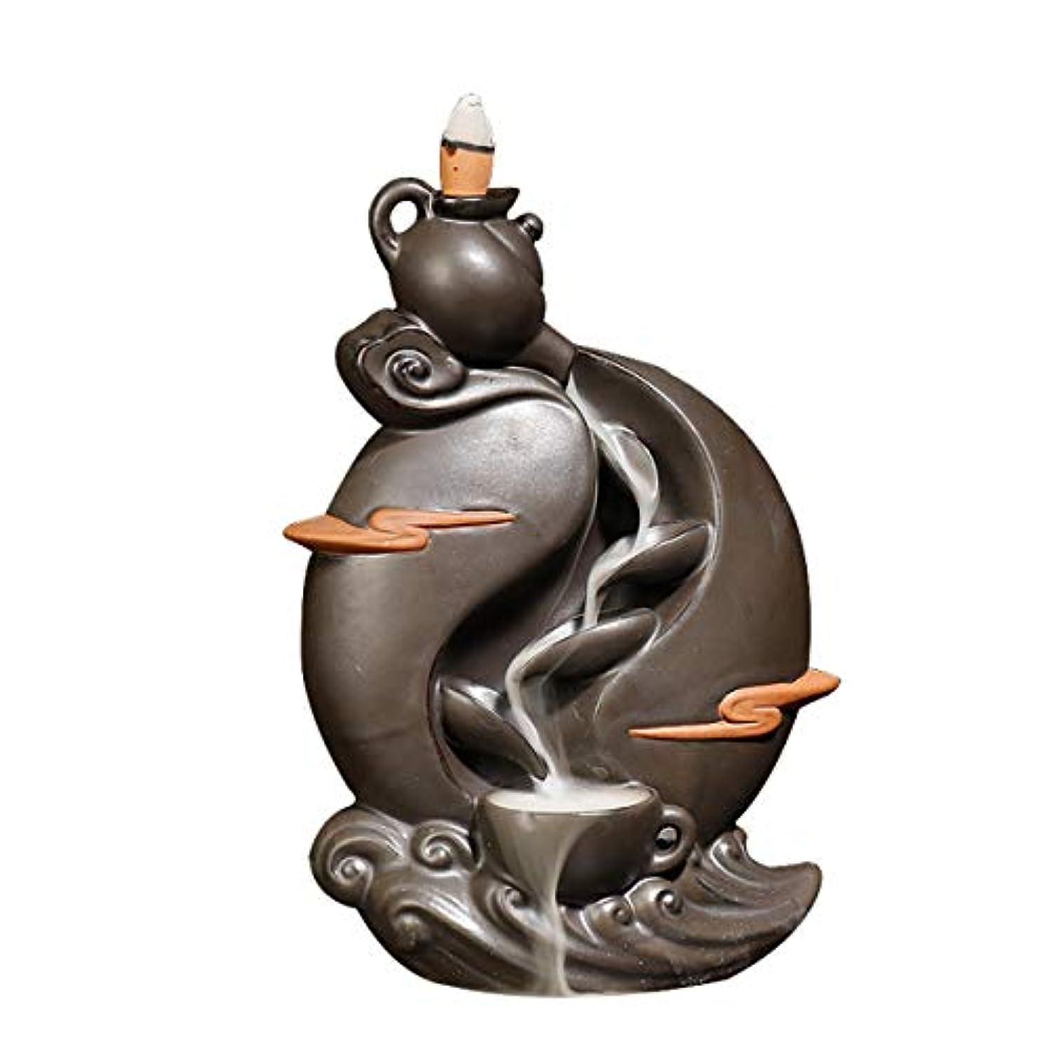 ベギン噴水失態装飾用装飾品10個入り逆流香コーン付き逆流香バーナー、ホームセラミック逆流香コーンホルダーバーナー
