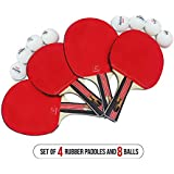 Pro Ping Pong Paddle Set - (Set of 4 Rubber Paddles & 8 Balls) Table Tennis Racket & Ping Pong Balls for Adults, Kids and Family Entertainment, or Professional Practise, Travel Holder Case Included