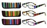 アイキーパー(Eyekepper)レディース用 小さめ 3本セット 老眼鏡 リーディンググラス シニアグラス 専用ポーチ付き ストライプ柄 +2.5