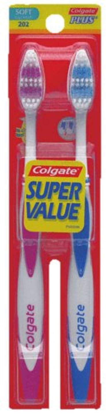 フローティング請求書おんどりColgate プラス大人の完全な頭部、柔らかい歯ブラシ、2-カウント(4パック)