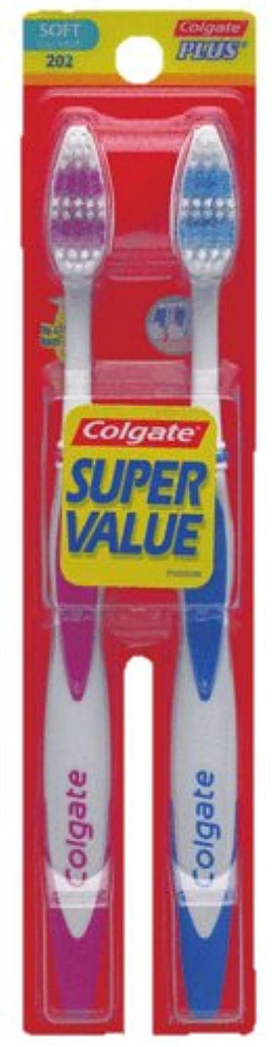 包括的段落住居Colgate プラス大人の完全な頭部、柔らかい歯ブラシ、2-カウント(4パック)