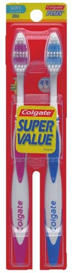 発掘荒廃するだらしないColgate プラス大人の完全な頭部、柔らかい歯ブラシ、2-カウント(4パック)
