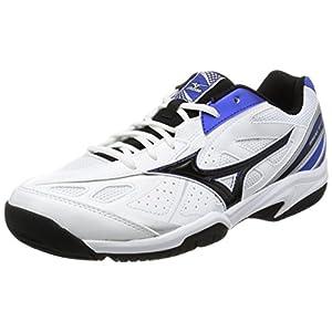 [ミズノ] テニスシューズ ブレークショット AC ホワイト×ブラック×ブルー 24.5 (現行モデル)