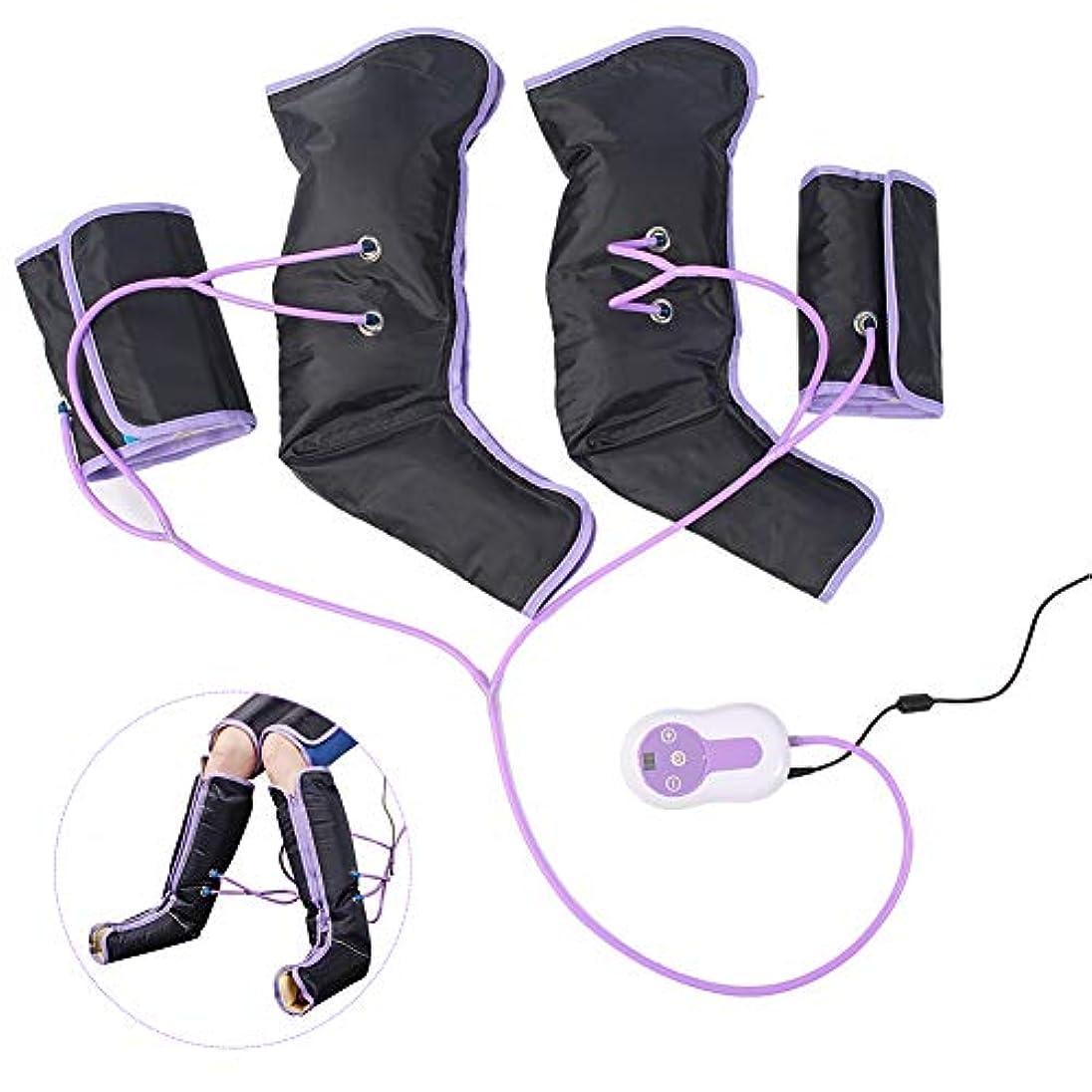 バー長くする半円足の空気圧縮マッサージャー、足とふくらはぎの痛みを軽減するためのハンドヘルドコントローラーとラップ、電気循環脚ラップ、循環を改善し、筋肉をリラックス(US-PLUG)
