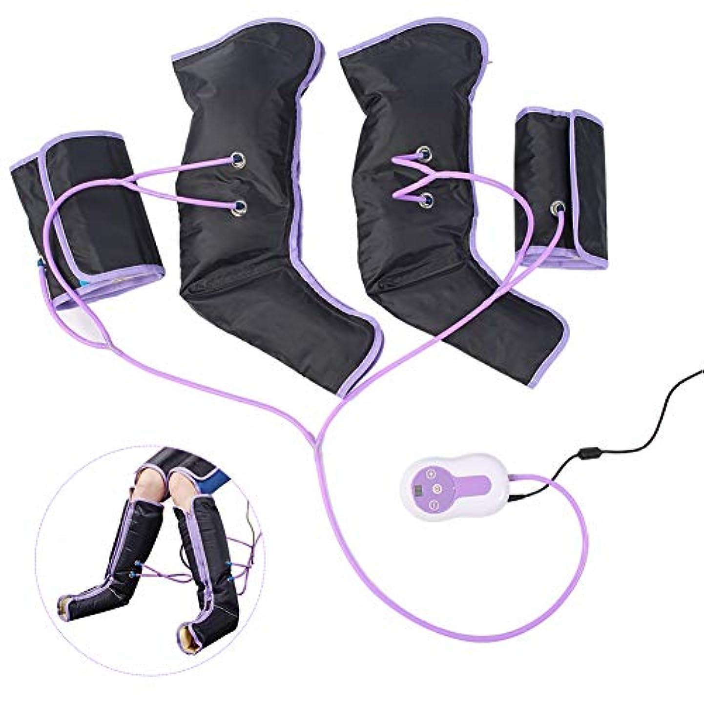 足の空気圧縮マッサージャー、足とふくらはぎの痛みを軽減するためのハンドヘルドコントローラーとラップ、電気循環脚ラップ、循環を改善し、筋肉をリラックス(US-PLUG)