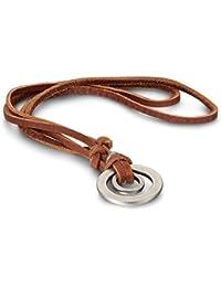 JewelryWe メンズ ネックレス,チョーカー, チェーン(レザー 本革 長さは調節可) と ペンダント トップ ヘッド コンビ セット, 2連 リング, 合金, カラー:ブラウン; シルバー(銀)