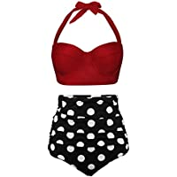 Newbely Women Vintage Polka Dot High Waisted Bikini Underwire Swimsuit Two Piece