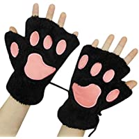 Women Girl Fingless Gloves Cute Plush Bear Claw Cat Paw Soft Winter Warm Mittens